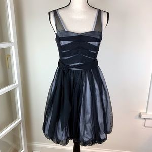 BCBG Black Tulle Bubble Prom Cocktail Dress 6 EUC